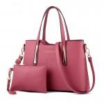 Set geanta + plic dama roz inchis din piele ecologica cu detalii aurii acgd079