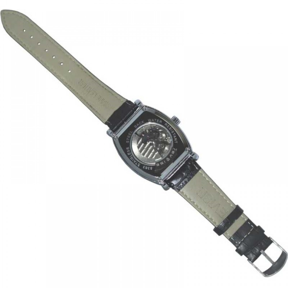 Ceas Barbatesc Premium Automatic Moonphase Legend Elegant Business Silver Black cu bratara din Piele Tevise CBTV004 - Tourbillon